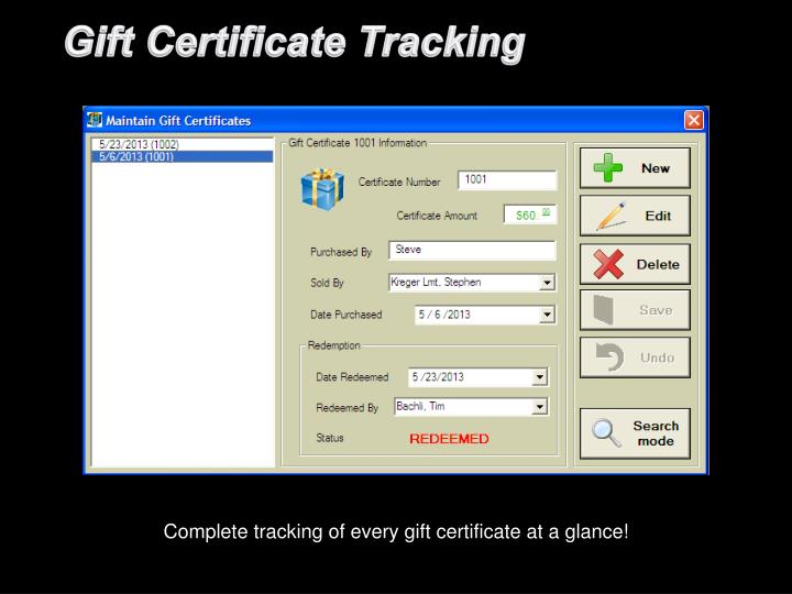 Gift Certificate Tracking