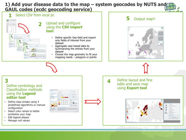 1) Add your disease data to the map – system geocodes by NUTS and GAUL codes (