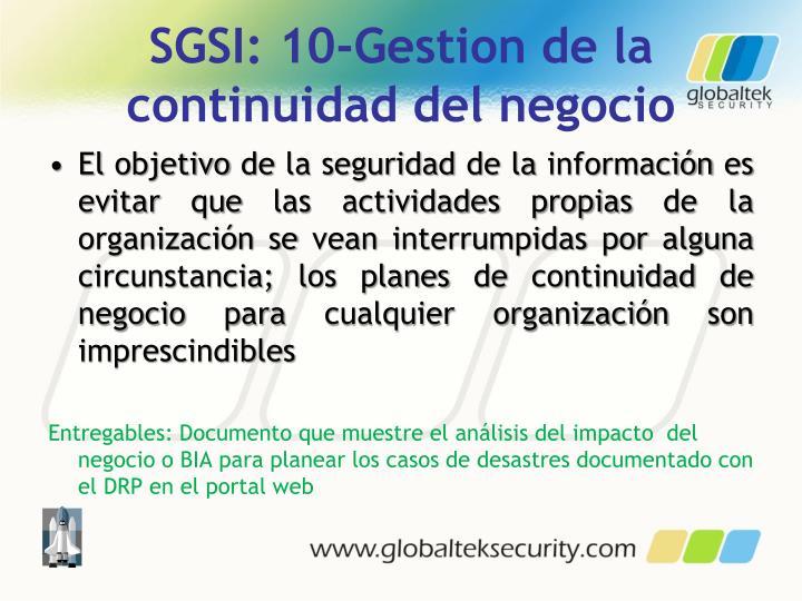SGSI: 10-Gestion de la continuidad del negocio