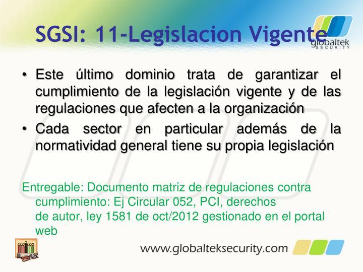 SGSI: 11-Legislacion Vigente