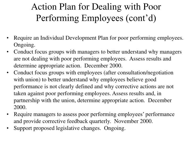 Action Plan for Dealing with Poor Performing Employees (cont'd)