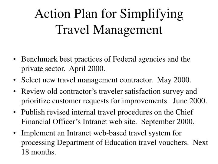 Action Plan for Simplifying Travel Management