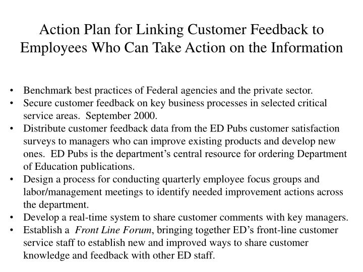 Action Plan for Linking Customer Feedback to Employees Who Can Take Action on the Information