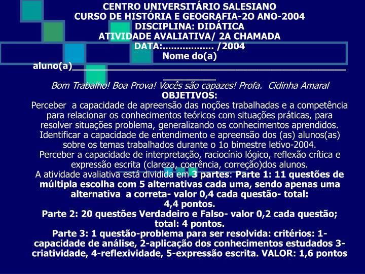 CENTRO UNIVERSITÁRIO SALESIANO