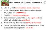 best practices culling standards