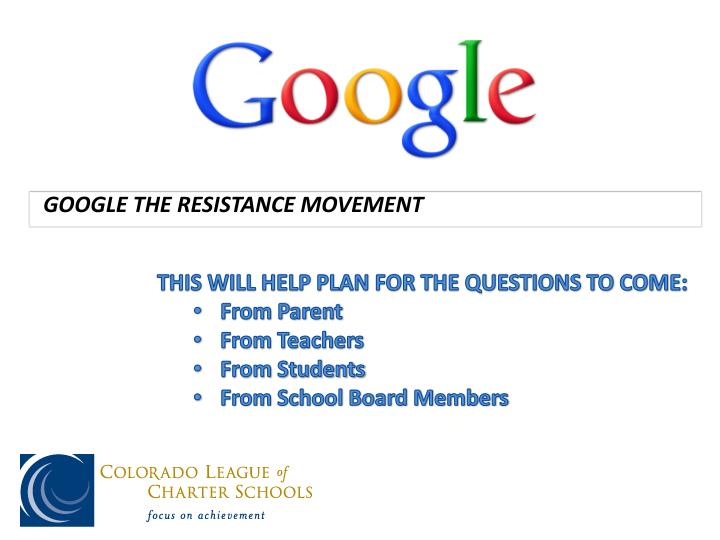 GOOGLE THE RESISTANCE MOVEMENT