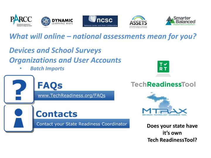 What will online – national assessments mean for you?