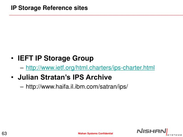 IP Storage Reference sites