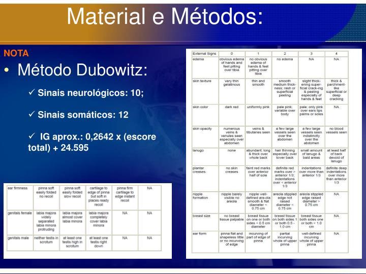 Material e Métodos: