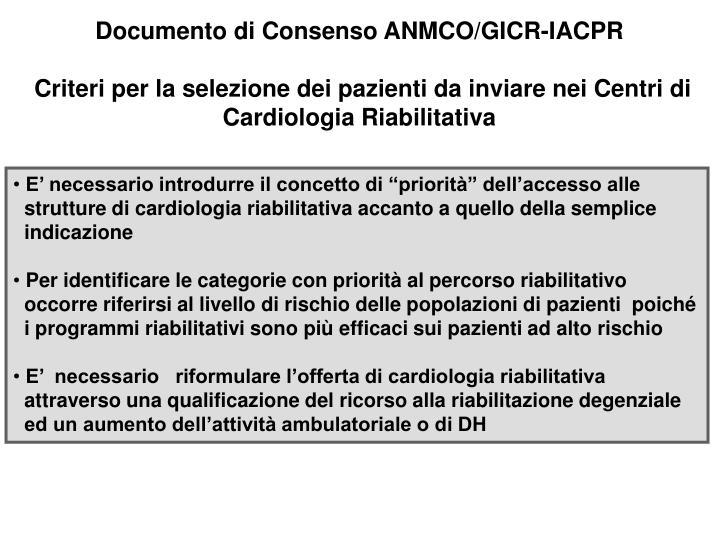 Documento di Consenso ANMCO/GICR-IACPR