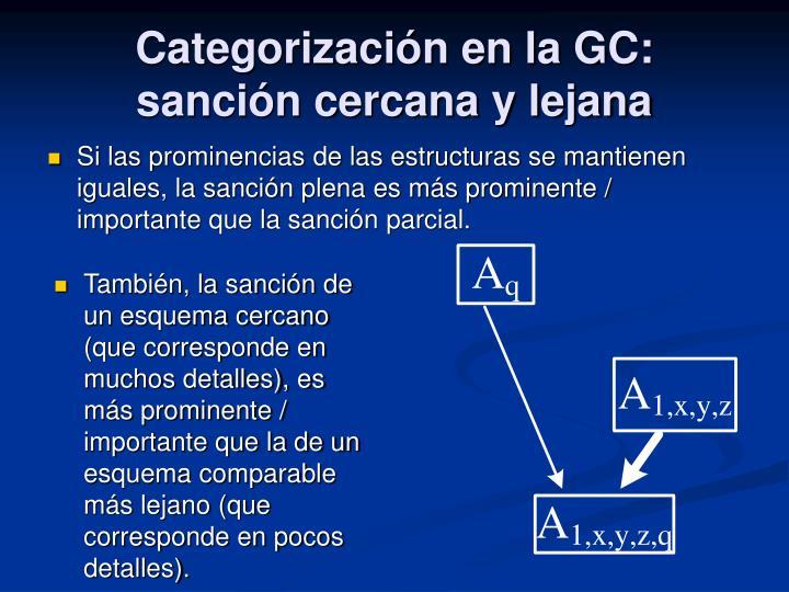 Categorización en la GC: sanción cercana y lejana