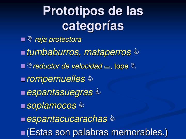 Prototipos de las categorías