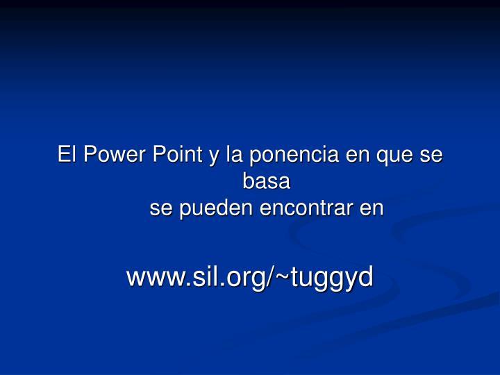 El Power Point y la ponencia en que se basa