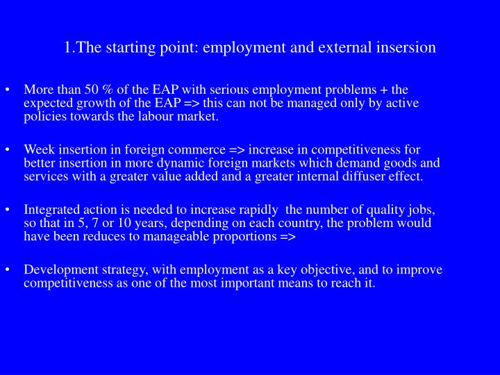 1 the starting point employment and external insersion