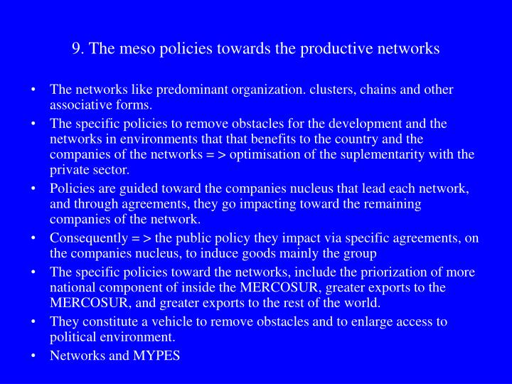 9. The meso policies towards the productive networks