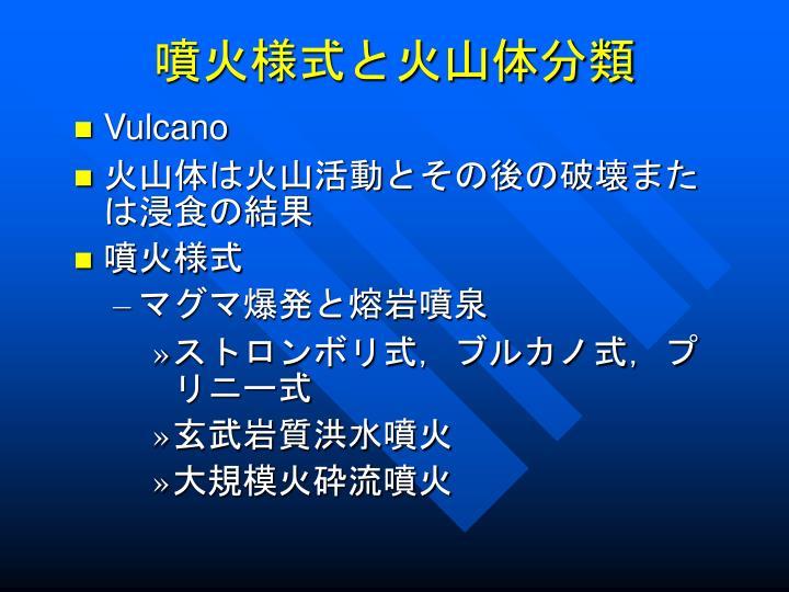 噴火様式と火山体分類