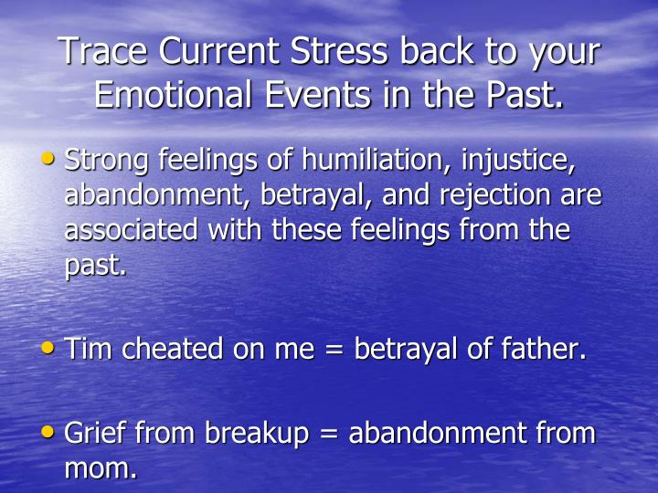 Trace Current Stress back to your Emotional Events in the Past.