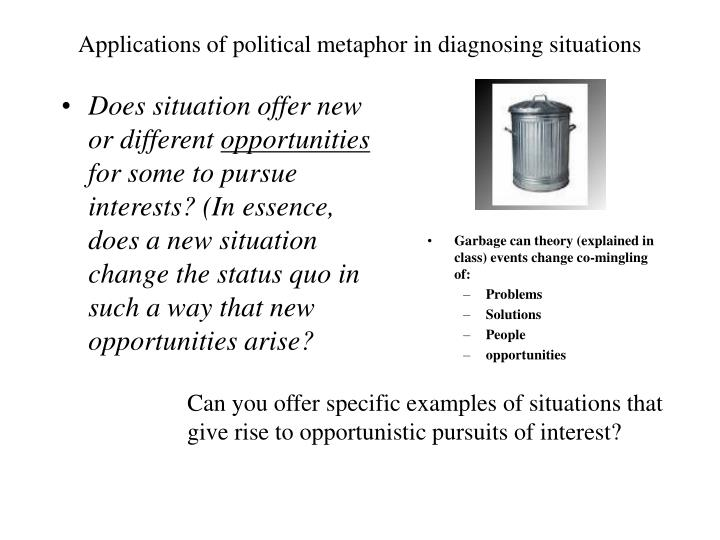 Applications of political metaphor in diagnosing situations