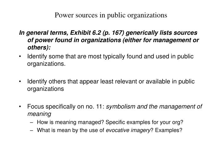 Power sources in public organizations