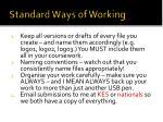 standard ways of working