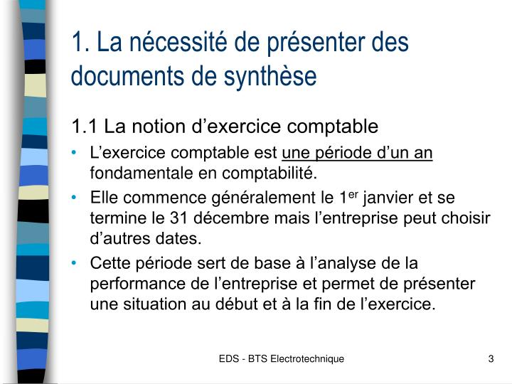 1 la n cessit de pr senter des documents de synth se