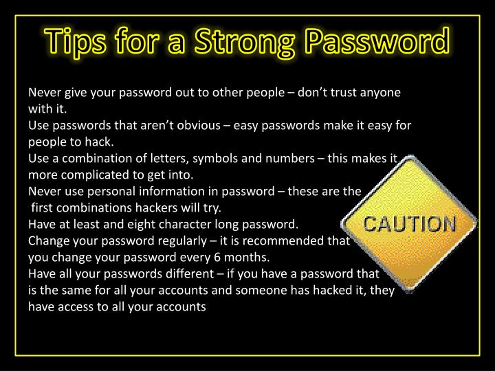 Tips for a Strong Password