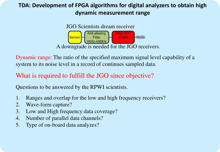 TDA: Development of FPGA algorithms for digital analyzers to obtain high dynamic measurement range