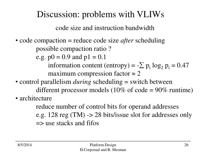 Discussion: problems with VLIWs
