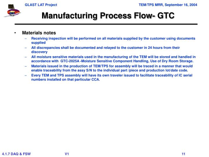 Manufacturing Process Flow- GTC