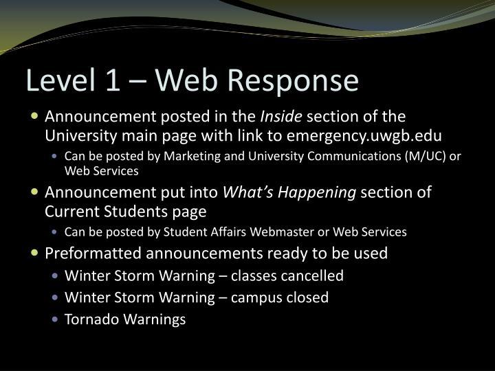 Level 1 – Web Response