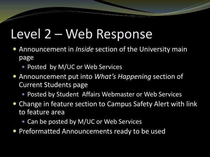 Level 2 – Web Response