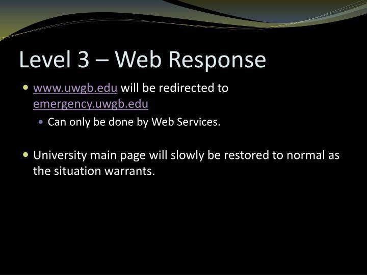 Level 3 – Web Response