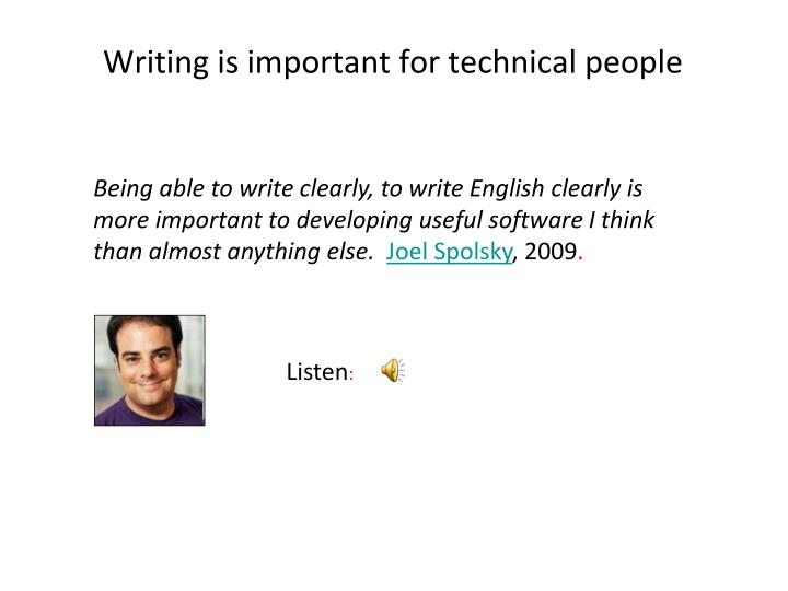 Writing is important for technical people