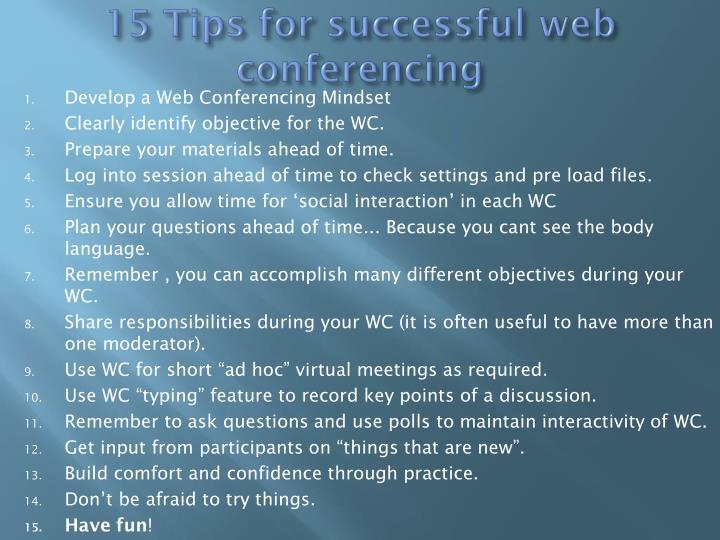 15 Tips for successful web conferencing