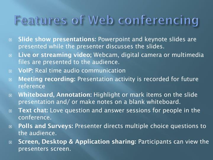 Features of web conferencing