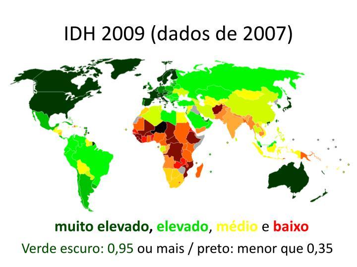IDH 2009 (dados de 2007)