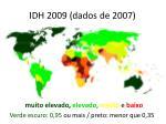 idh 2009 dados de 2007