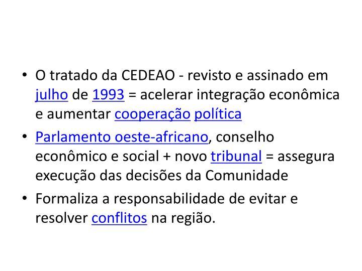O tratado da CEDEAO - revisto e assinado em