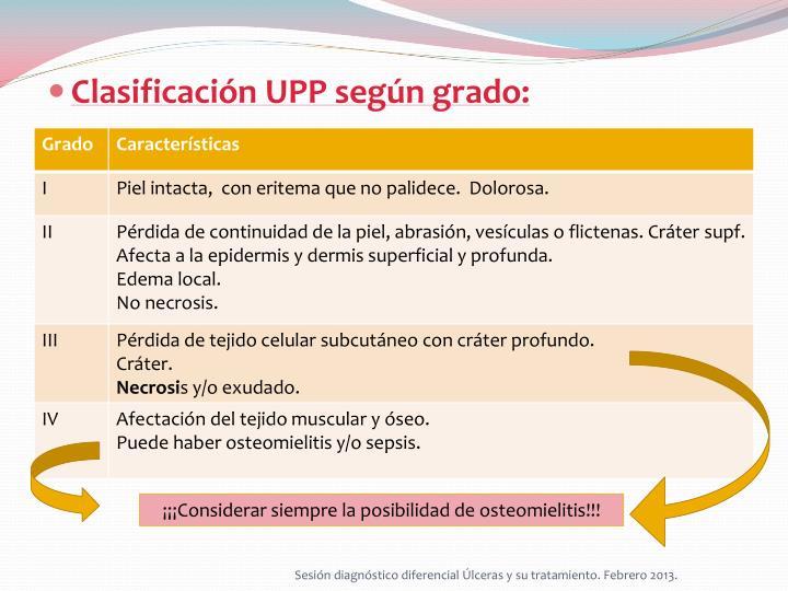 Clasificación UPP según grado: