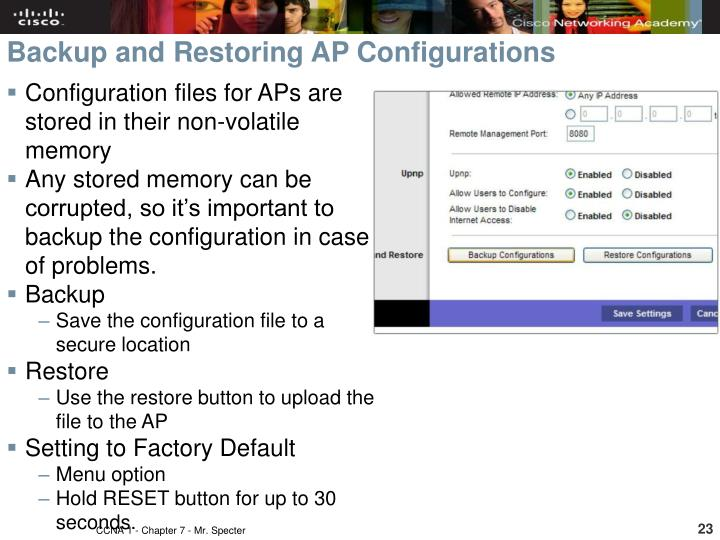 Configuration files for APs are stored in their non-volatile memory