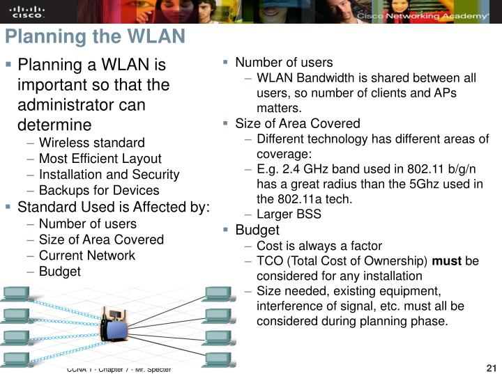 Planning a WLAN is important so that the administrator can determine
