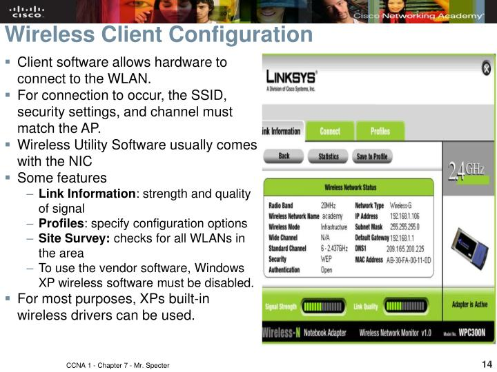 Client software allows hardware to connect to the WLAN.