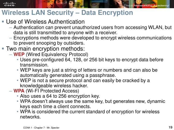 Wireless LAN Security – Data Encryption