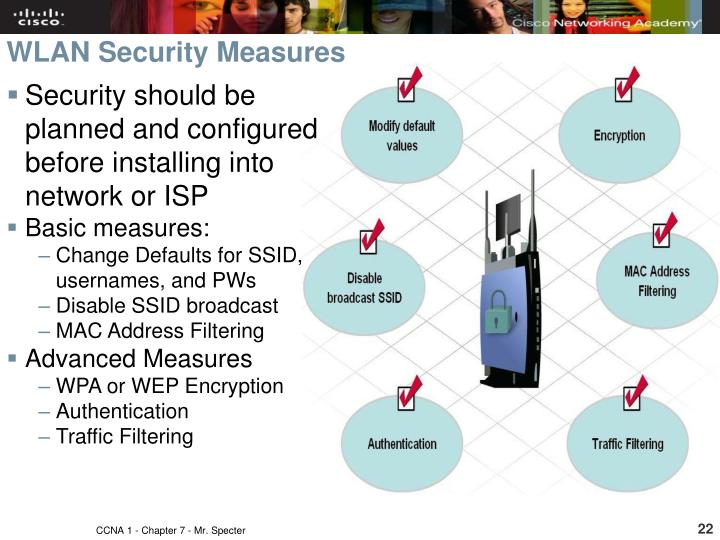 Security should be planned and configured before installing into network or ISP