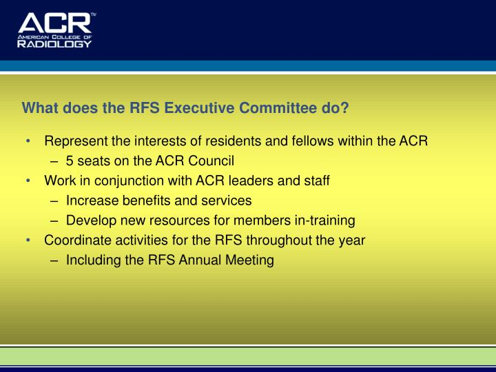 What does the RFS Executive Committee do?