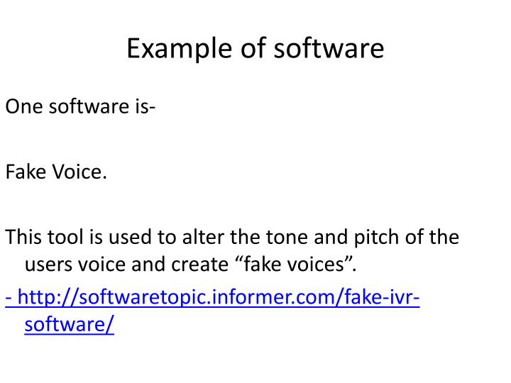 Example of software