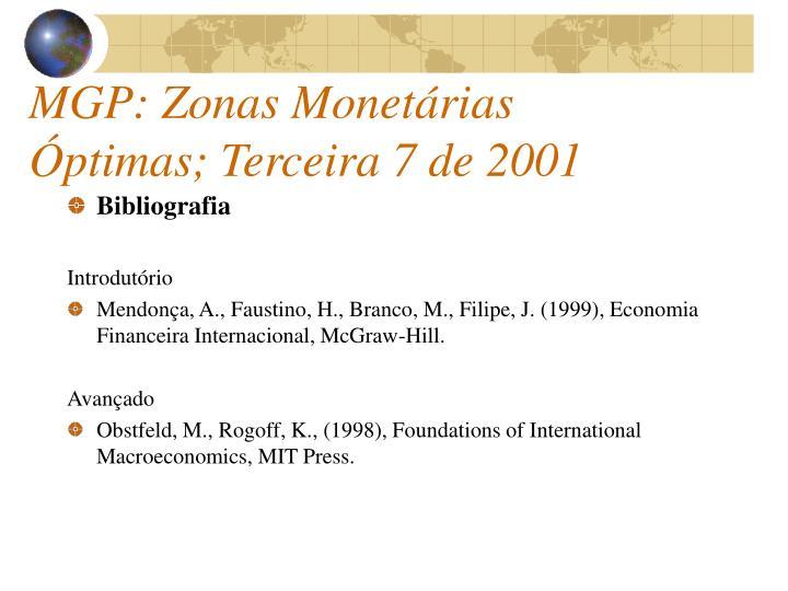 MGP: Zonas Monetárias Óptimas; Terceira 7 de 2001