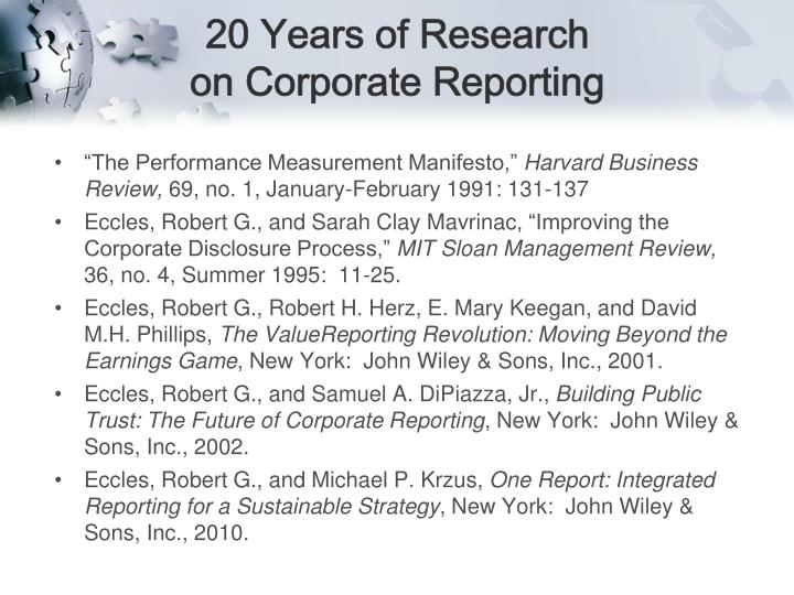 20 Years of Research