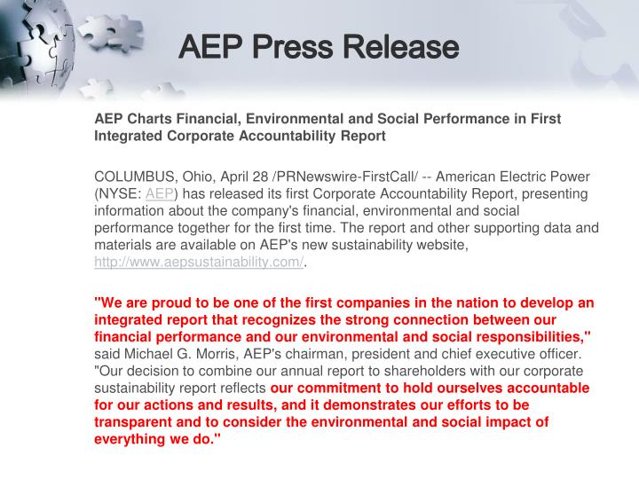 AEP Press Release