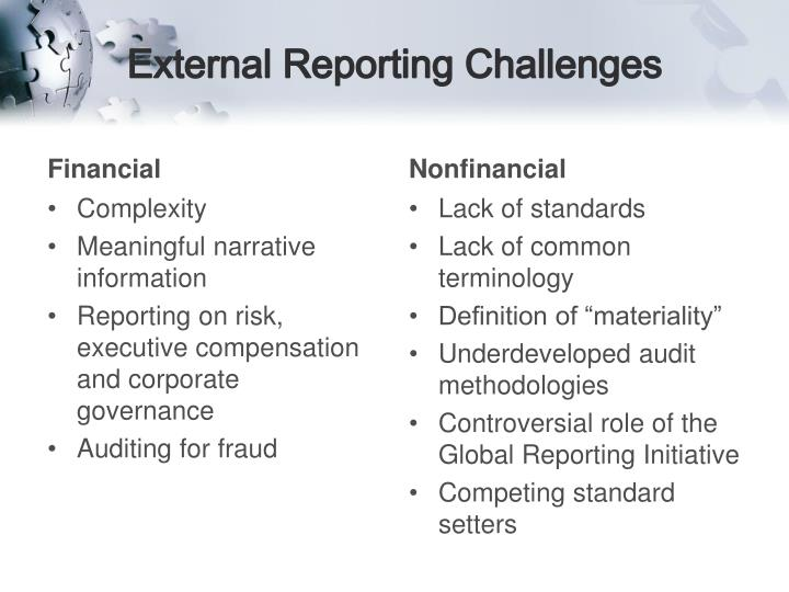 External Reporting Challenges